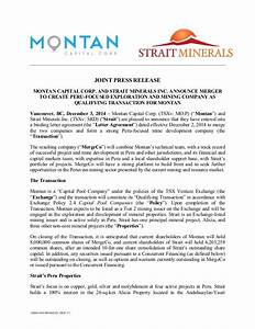 news release montan capital corp and strait minerals inc With acquisition press release template