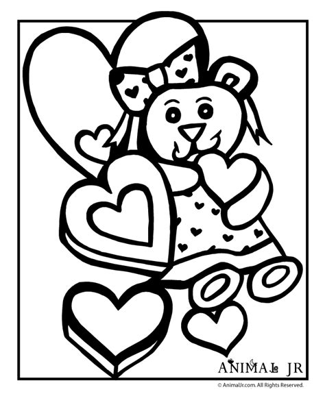 animal jr teddy bear valentine coloring page
