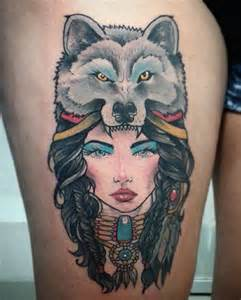 Wolf Thigh Tattoo Designs for Girls
