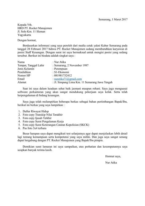 contoh surat lamaran kerja bahasa indonesia