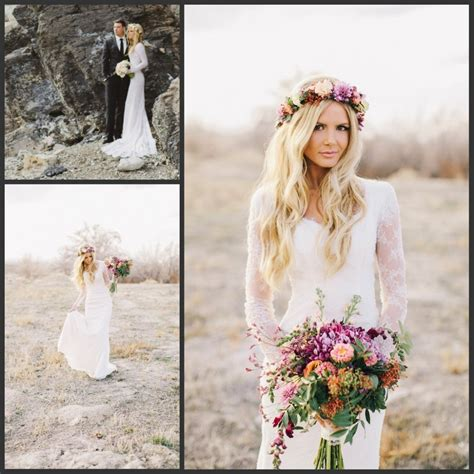 2016 Sheath Bohemian Style Lace Long Sleeves Wedding