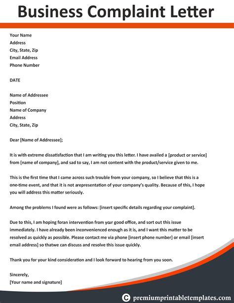 business complaint letter business letter templates