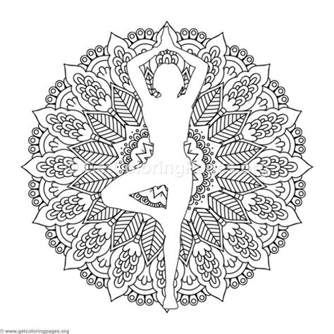 standing yoga pose mandala coloring pages
