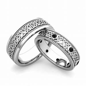 his hers celtic wedding band in 18k gold milgrain black With matching celtic wedding rings