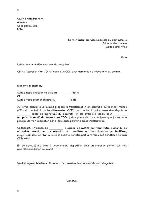 Modification Contrat De Travail Acceptation Tacite by Lettre Acceptation Contrat De Travail Lettre De Motivation
