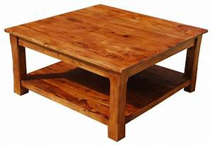 large square coffee table 2 tier solid wood furniture With oversized square wood coffee table