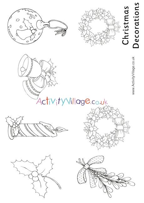 activity village christmas decorations colouring booklet