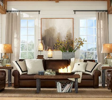 Living Room Ideas With Brown Leather Sofa by How To Visually Lighten Up Leather Furniture