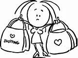 Shopping Outline Bags Woman Holding Bag Sketch Illustration Drawing Line Vector Dreamstime sketch template