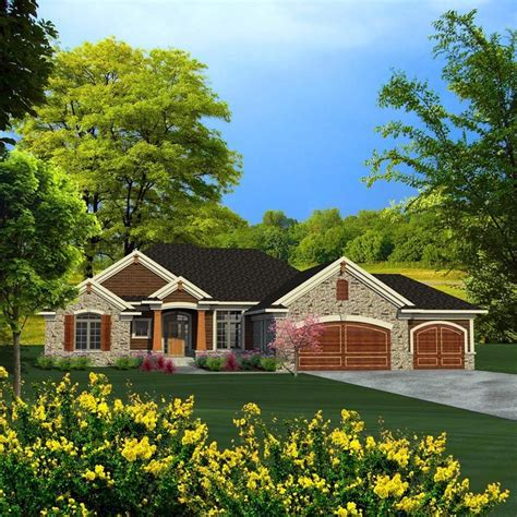 ranch style house plan    bed  bath  car garage craftsman style house plans