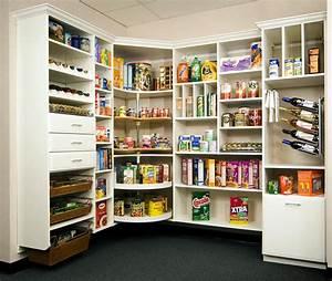 Splendid U-Shaped Kitchen Pantry Shelving Design Featuring