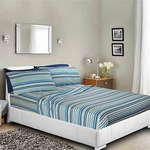 Printed, Bed, Sheet, Set, Twin, -, Striped