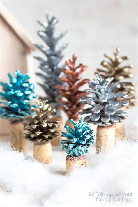 painted pinecone  cork christmas tree decorations