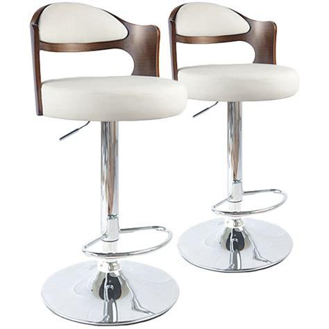 chaise de bar blanc chaises de bar vintage bois noisette blanc lot de 2 pas cher déco