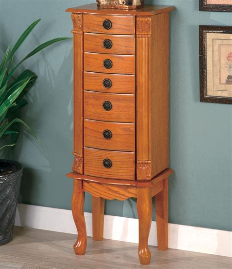 Jewelry Furniture Armoire by Coaster Jewelry Armoires Classic Oak Jewelry Armoire