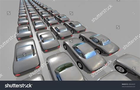Many 3d Identical Gray Cars In Rows With Only One Person