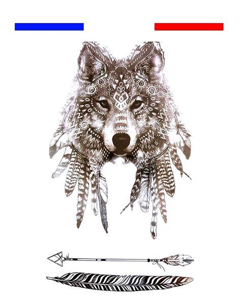 tatouage loup indien  fleches noir mon petit