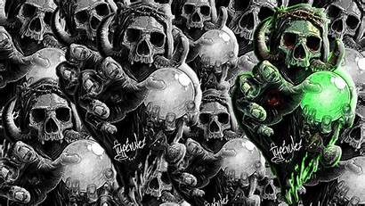 Skull Magic Horns Ball Hands Monochrome Wallpapers