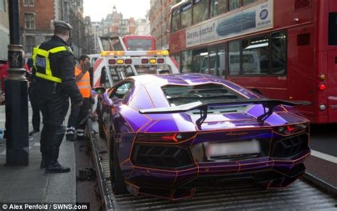 purple lamborghini aventador seized  london