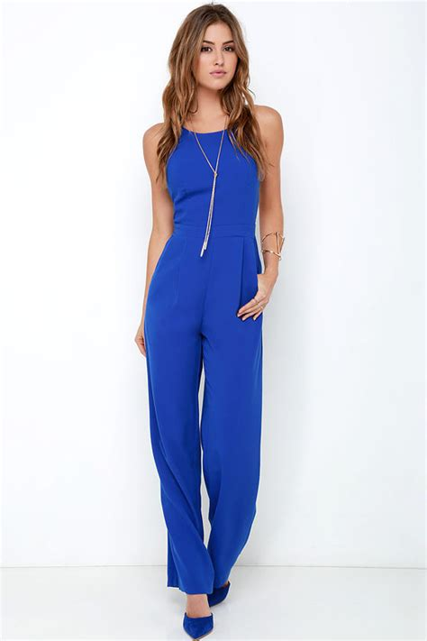 cobalt blue jumpsuit cobalt blue jumpsuit sleeveless jumpsuit wide leg
