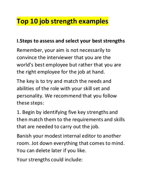 Questions Strengths And Weaknesses Exles by Top 10 Strength Exles