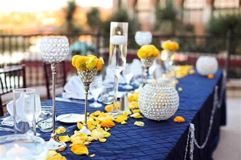 navy blue  yellow wedding decoration ideas  maestro