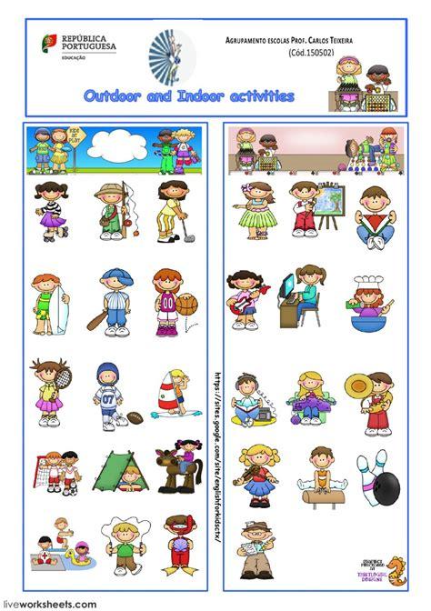 indoor outdoor activities  sports interactive worksheet
