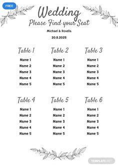 table seating chart template seating chart wedding