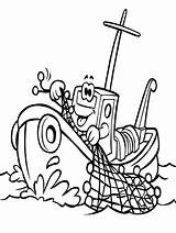 Boat Coloring Cartoon Fishing Pages Transportation Vehicles sketch template