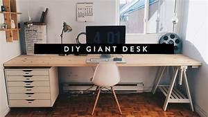 DIY GIANT HOME OFFICE DESK - YouTube