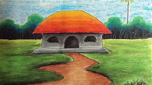How to Draw a Village Landscape with Oil Pastels | Episode ...