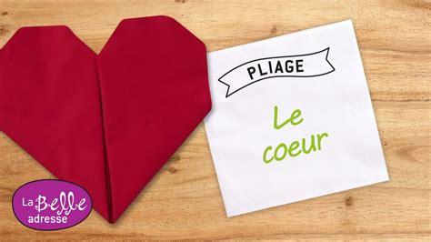 pliage papier facile pliage de serviette en papier en forme de cœur labelleadresse