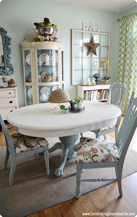 blue and white dining room table and chairs makeover