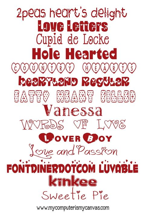 computer   canvas    valentine fonts