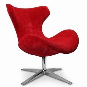 Fauteuil design en tissu rouge buzzy for Fauteuil salon rouge
