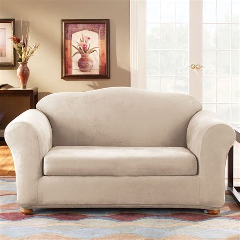 sure fit stretch suede sofa slipcover sure fit slipcovers form fit stretch suede 2 piece sofa