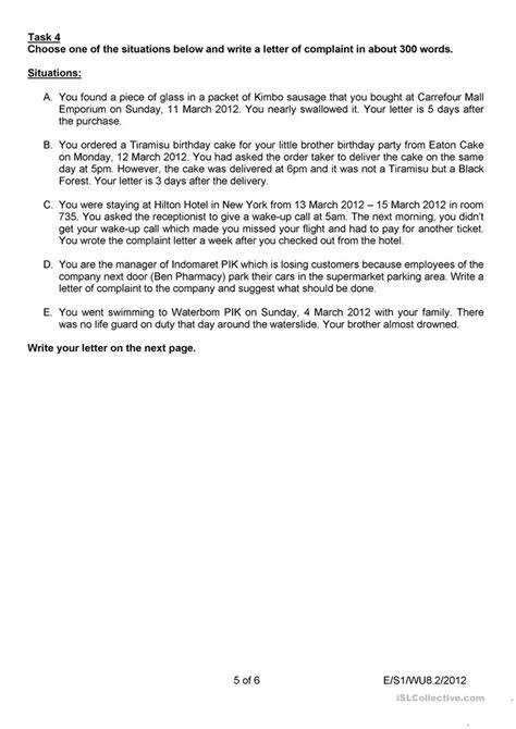 Letter of complaint worksheet - Free ESL printable