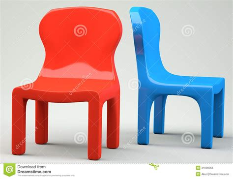 Red And Blue Cartoon-styled Chairs Stock Illustration