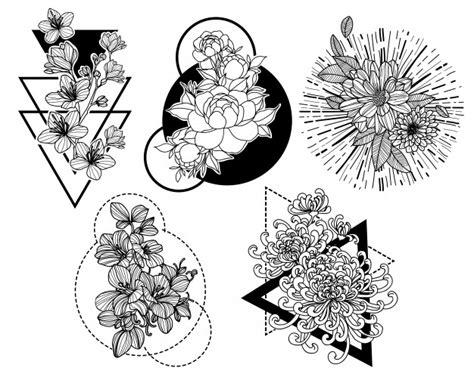 Tatuagem arte flor mão desenho e desenho preto e branco