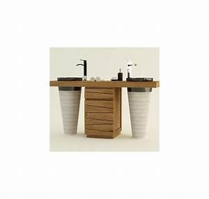 meuble salle de bain en teck double vasque timare With meuble salle de bain design teck