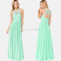 cheap mint green bridesmaid dresses aliexpress buy lace halter open back chiffon prom dresses mint green floor