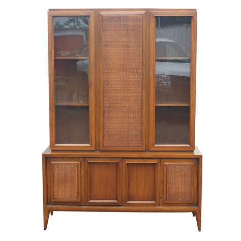 Ebay China Display Cabinet by 52 Quot X 73 Quot Vintage Wood Cane Glass Hutch China Cabinet