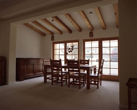 addition  exposed wood beams contemporary dining