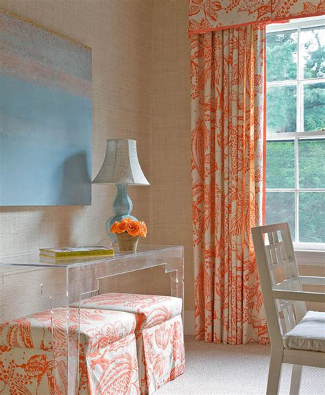 green curtains cottage living room bhg