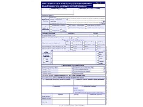 modèle fiche intervention technique fiches d intervention bordereau de suivi de d 233 chets