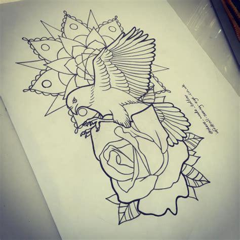 flying bird  rose  mandala flower tattoo design