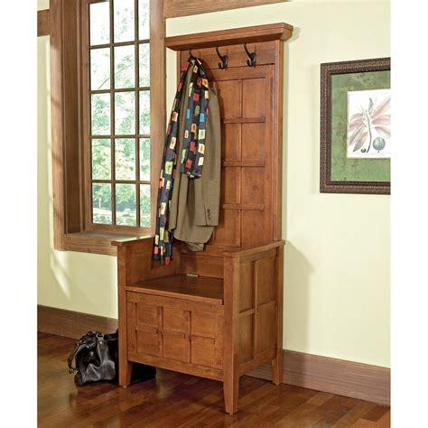 home styles cottage oak mini hall tree storage bench