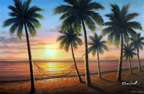 palm trees hammock banana tree beach sunset philippines hawaii tropical hammocks painting