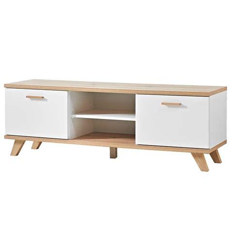 caisson bureau blanc meuble tv scandinave 2 tiroirs 144x40cm malmo