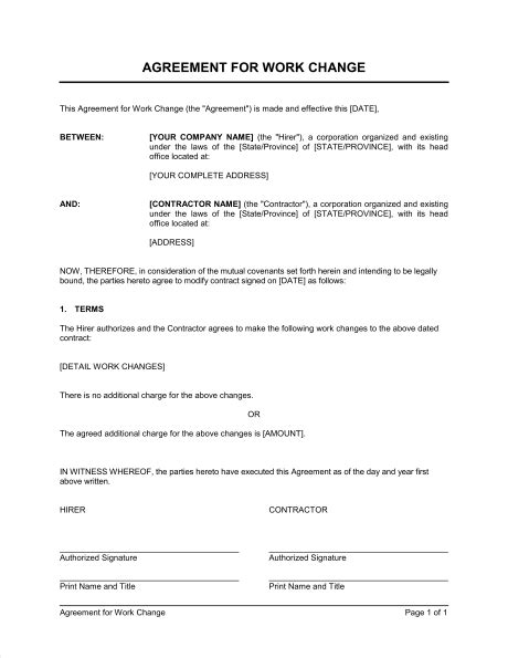 change of working hours letter template for contracts nz agreement for work change template sle form